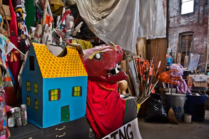 The Spiral Q warehouse in West Philadelphia is home to many puppets and creations from the community. (Kimberly Paynter/WHYY)