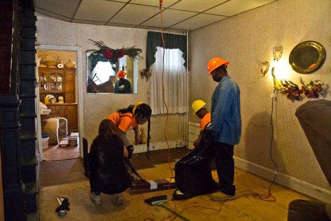 Rebuilding Together Philadelphia organized volunteers to renovate homes on the 1900 block of Somerset in Philadelphia's Kensington neighborhood. (Kimberly Paynter/WHYY)