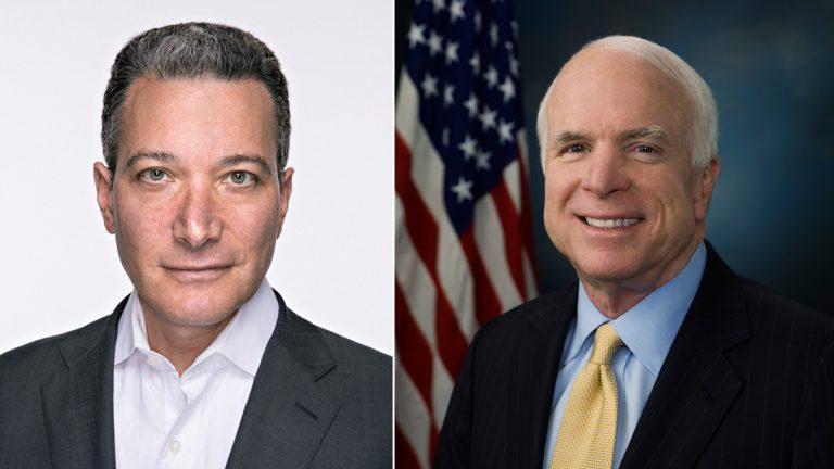 Jeff Rosen of the National Constitution Center (left) and U.S. Sen. John McCain
