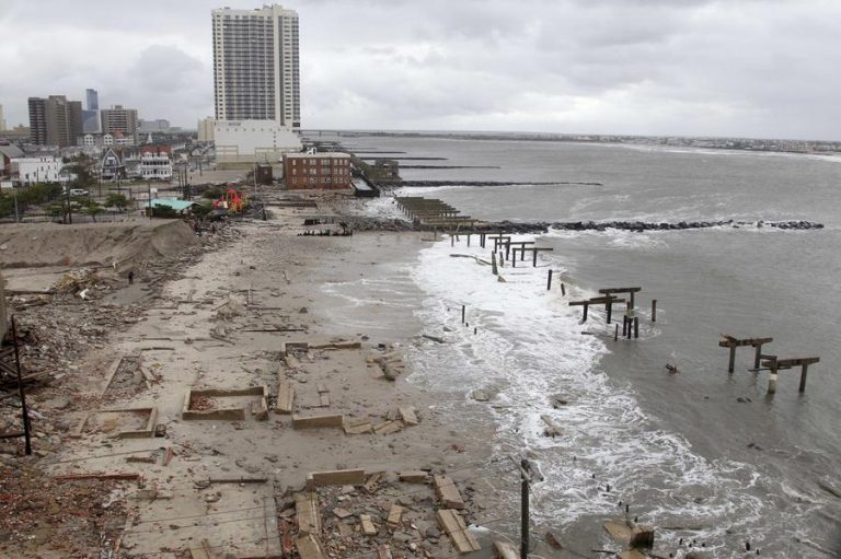 Atlantic City boardwalk, Oct. 30th, 2012 (AP photo/Seth Wenig)