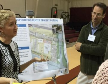 SEPTA Planner Jennifer Barr discusses the Wissahickon Gateway Plan with residents at a community open house on Oct. 30th.