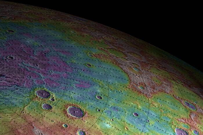 Perspective view of Mercury's topography (NASA).