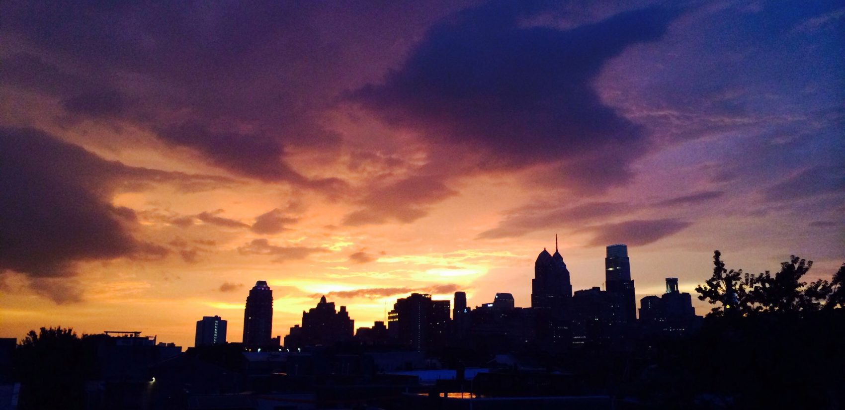 Stormy Philadelphia skyline at sunset
