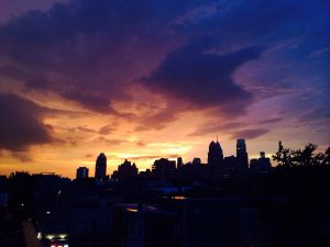 Stormy Philadelphia skyline at sunset