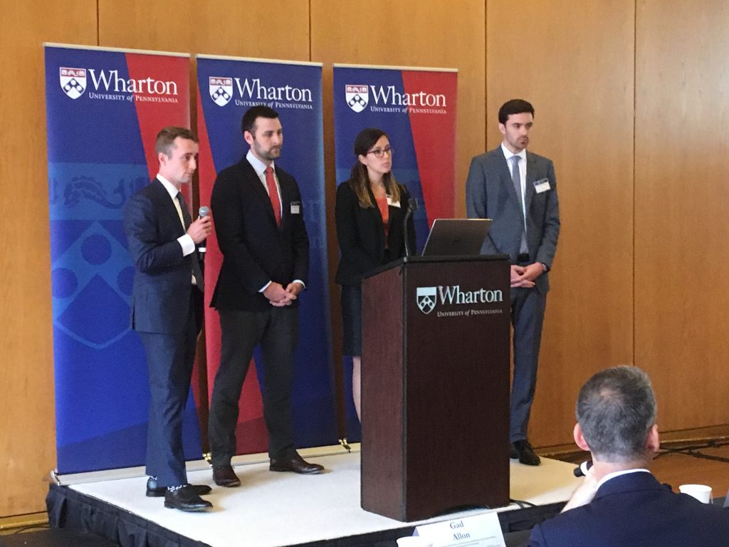 "Team ""Wharton Prime"" presents at the business school's Amazon HQ2 pitch competition"