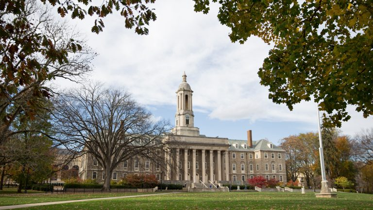 Old Main, an administrative building and landmark of Penn State campus, State College, Pennsylvania. (Lindsay Lazarski/WHYY)