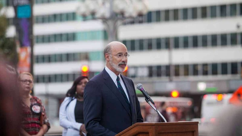 Pennsylvania Gov. Tom Wolf speaks at a Philadelphia vigil honoring the victims of Sunday night's mass shooting in Las Vegas.