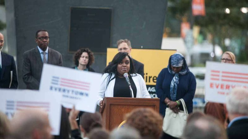 Tiara Parker, who was wounded in The Pulse night club shooting in Florida last year, spoke at a vigil Tuesday evening in Philadelphia to honor the victims of the mass shooting in Las Vegas Sunday night.