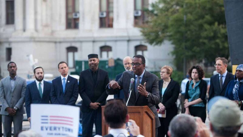 City Council President Darrell Clarke speaks at a Vigil honoring the victims of Sunday night's mass shooting in Las Vegas, NV.