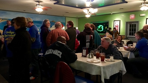 A group of Dauphin County Democrats gathered in Harrisburg to watch election returns come in. (Katie Meyer/WITF)