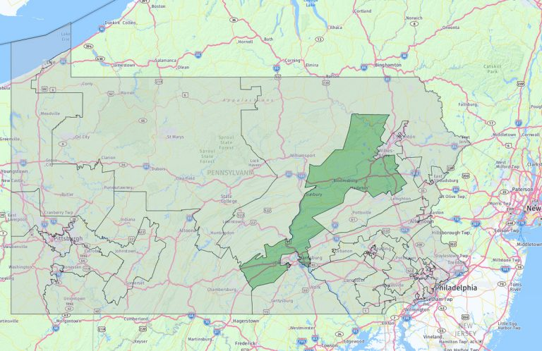 Pennsylvania's 11th congressional district covers the northeast to the south central regions of the state. (Keystone Crossroads)