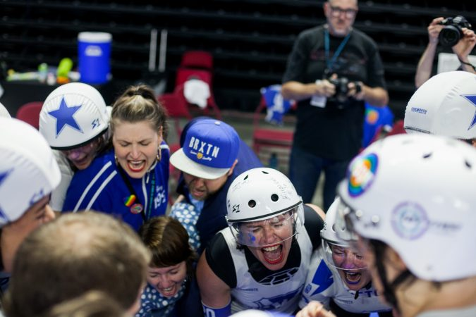 The Victorian Roller Derby League celebrated their win over the Rose City Rollers to become the 2017 WFTDA Champions. (Brad Larrison for WHYY)