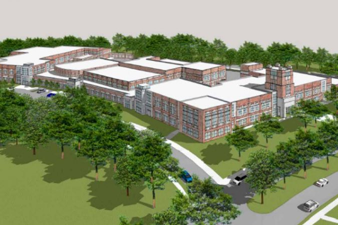 An artist's rendering of the proposed new campus at the current site of Camden High School.