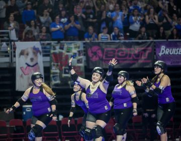 Defending champions, the Rose City Rollers of Portland, Oregon, skate before the final championship game against the Victorian Roller Derby League from Melbourne, Australia