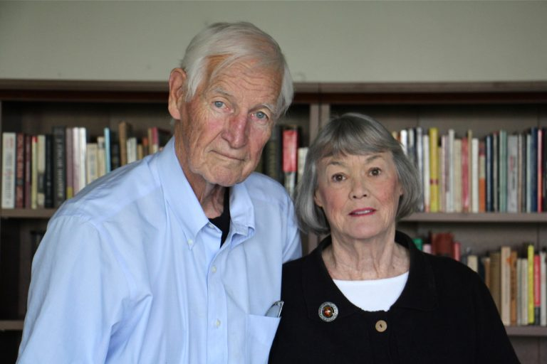 John Raines and his wife, Bonnie, at their home in Philadelphia in September. (Emma Lee/WHYY)