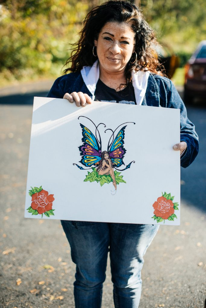 A colorful painting of a fairy with foliage is one of two pieces that Redina created while at the Roxbury Treatment Center.