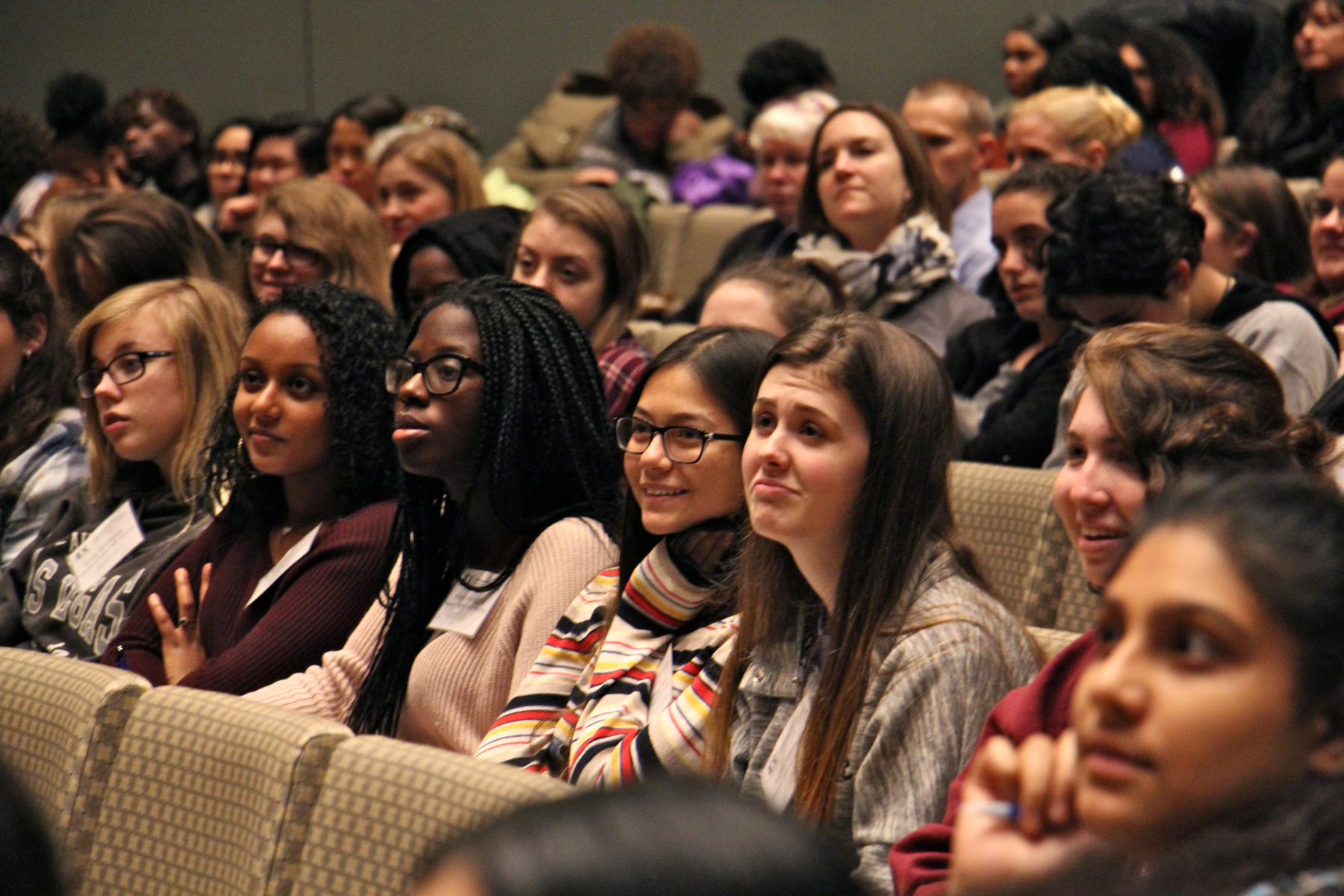Students at the Anti-Defamation League's annual Youth Conference listen to the keynote speech by Akbar Hossain.