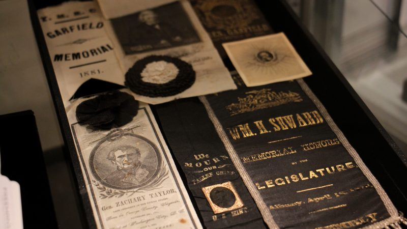 A collection of presidential mourning ribbons from the 19th century. Such items were often handed out as souvenirs at state funerals.