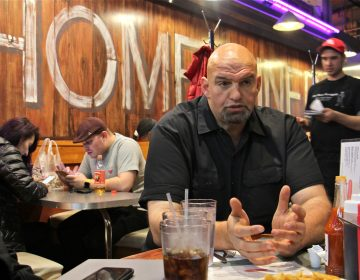 Bradock Mayor John Fetterman meets with reporters to talk about his run for Pennsylvania lieutenant governor at the Down Home Diner at Reading Terminal Market