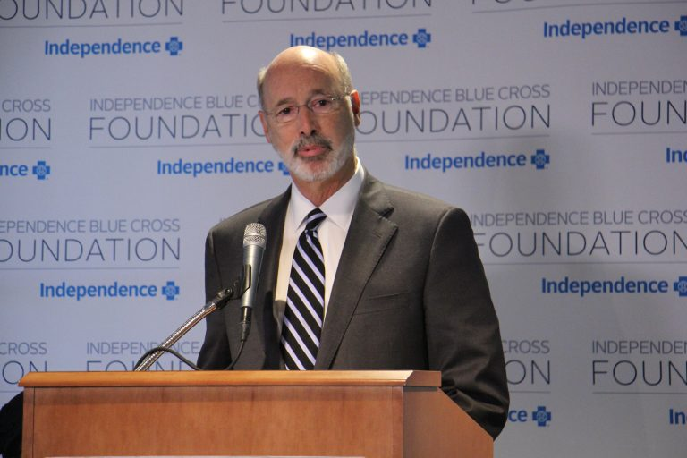 Gov. Tom Wolf speaks about Pennsylvania's opioid crisis during a meeting at Independence Blue Cross headquarters in Philadelphia.