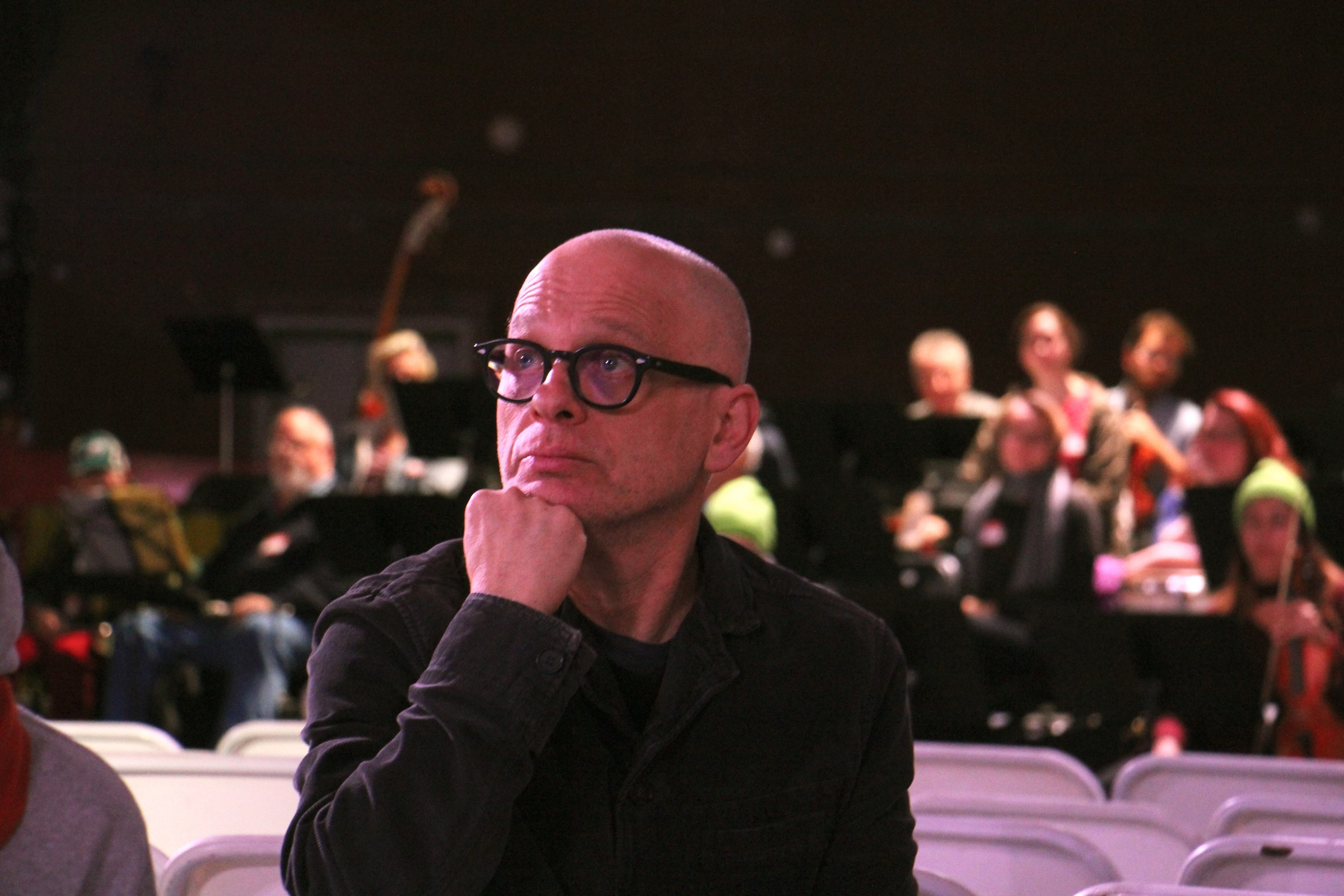 """Symphony for a Broken Orchestra"" composer David Lang sits in on a rehearsal at the Armory."