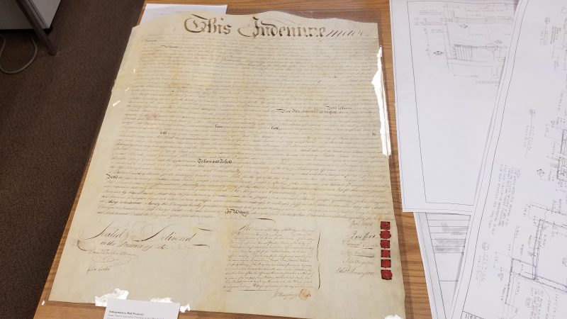 The original sale agreement for the real estate of Independence Hall.