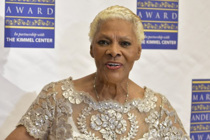 At a pre-gala event Dionne Warwick poses for photographers, ahead of receiving the Marian Anderson Award, on Tuesday, at the Kimmel Center. (Bastiaan Slabbers for WHYY)