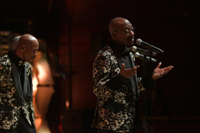 Russell Thompkins, Jr. and The Stylistics perform as Dionne Warwick receives the Marian Anderson Award at a ceremony at the Kimmel Center, on Tuesday. (Bastiaan Slabbers for WHYY)