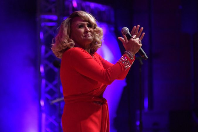 Darlene Love performs as Dionne Warwick receives the Marian Anderson Award at a ceremony at the Kimmel Center, on Tuesday. (Bastiaan Slabbers for WHYY)