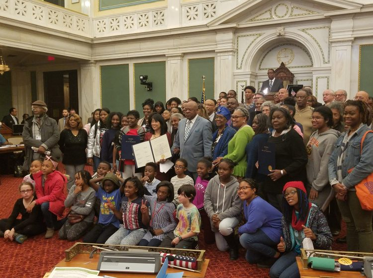 Civil rights activist Walter Palmer, center, receives an honor from the Philadelphia City Council. (photo courtesy of council member Helen Gym's office)