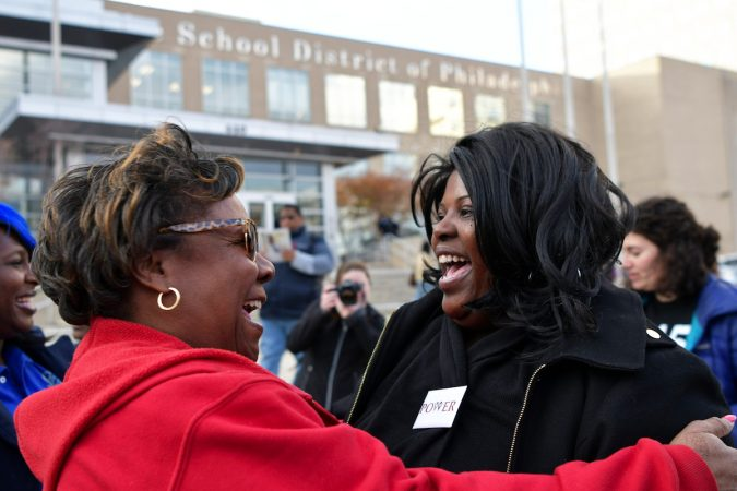 Yvette Jones with PFT and Sheila Armstrong with POWER outside of the monthly SRC meeting, on November 16, 2017. At the meeting the SRC is expected voting to resolve after a 16 year run. (Bastiaan Slabbers for WHYY)