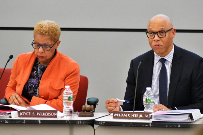 Monthly meeting of the School Reform Commission of the Philadelphia School District, on November 16, 2017. (Bastiaan Slabbers for WHYY)
