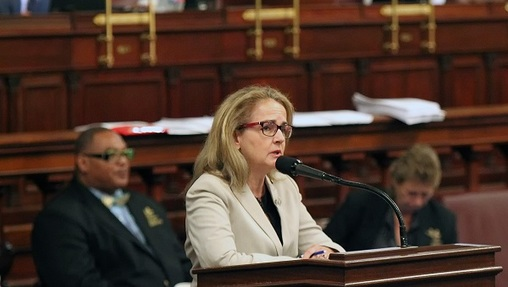 Representative Madeleine Dean, D-Montgomery, addresses her colleagues, as they debate the budget on the floor of the House of Representatives at the Pennsylvania State Capitol in Harrisburg Tuesday June 30, 2015. (Chris Knight/AP Photo, file)