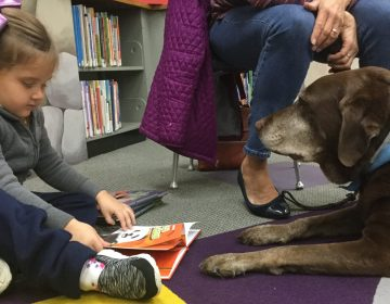 Mia Zelmanoff reads a book to Rocky at the Torresdale library in Northeast Philly.