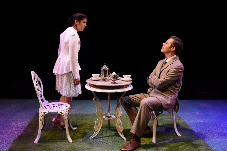 Leigha Kato as Eliza Doolittle and Gregory Isaac as Henry Higgins in Quintessence Theatre Group's production of