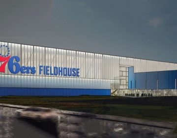 This artists rendering shows the new 76ers Fieldhouse planned for Wilmington. (photo courtesy Buccini/Pollin Group)