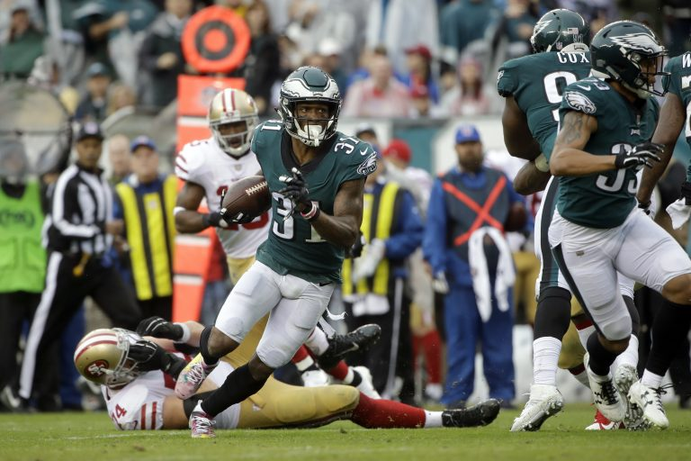 Philadelphia Eagles' Jalen Mills (31) runs the ball in for a touchdown during the first half of an NFL football game against the San Francisco 49ers, Sunday, Oct. 29, 2017, in Philadelphia,.