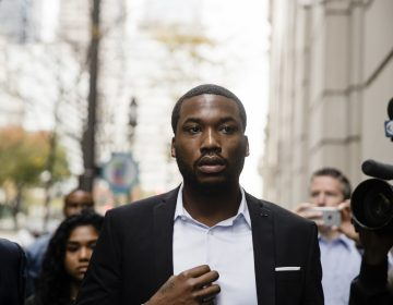 Rapper Meek Mill arrives at the criminal justice center in Philadelphia, Monday, Nov. 6, 2017. A Philadelphia judge has sentenced rapper Mill to two to four years in state prison for violating probation in a nearly decade-old gun and drug case.