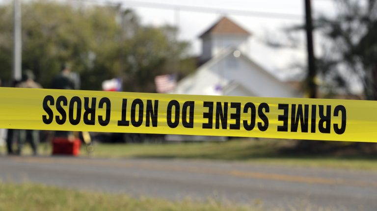 Crime scene at the First Baptist Church of Sutherland Springs, Texas