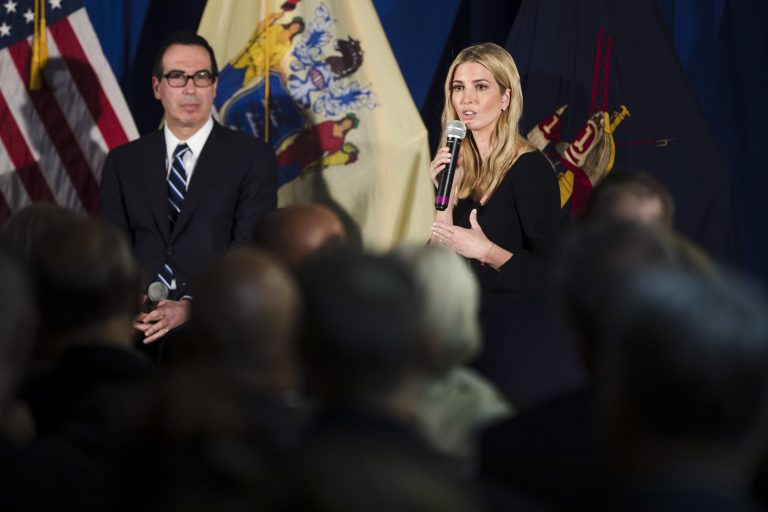 White House adviser Ivanka Trump and Treasury Secretary Steve Mnuchin speak in Bayville, N.J., Monday, Nov. 13, 2017, about tax overhaul, where they promised legislation moving through Congress would simplify the tax code and ease burdens on taxpayers.