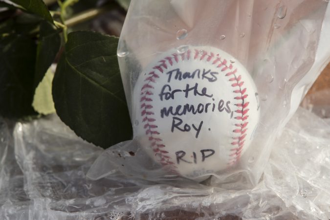 A memento in remembrance of former Phillies pitcher Roy Halladay is shown outside Citizens Bank Park in Philadelphia, Wednesday, Nov. 8, 2017. (Matt Rourke/AP Photo)