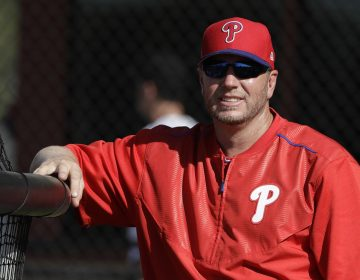 Former Philadelphia Phillies pitcher Roy Halladay watches relief pitcher Joaquin Benoit throw live batting practice during a workout Thursday, March 9, 2017, in Clearwater, Fla. Halladay was back with the Phillies as a guest instructor. (Chris O'Meara/AP Photo)