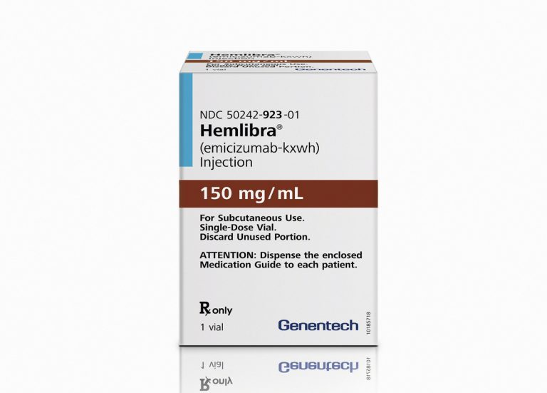 This photo provided by Genentech, Inc. shows a package of the drug Hemlibra. On Thursday, Nov. 16, 2017, the Food and Drug Administration approved Hemlibra, the first new treatment in nearly two decades to prevent internal bleeding in certain patients with hemophilia, an inherited blood-clotting disorder. (Genentech, Inc. via AP)