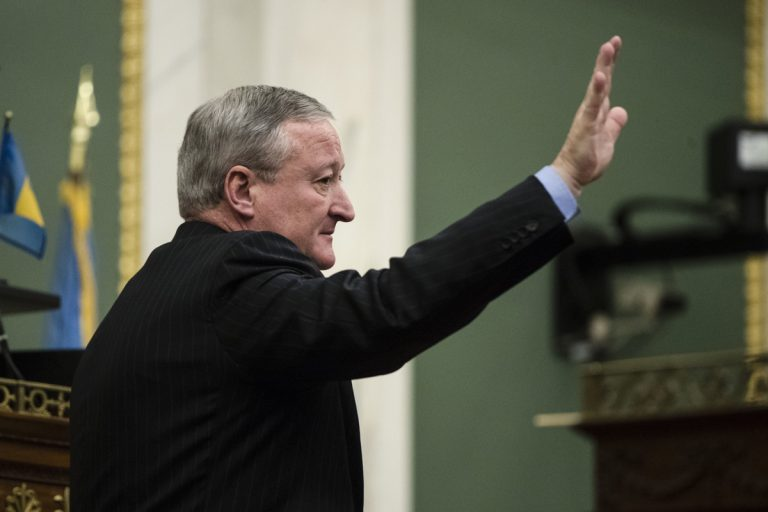 Philadelphia Mayor Jim Kenney gestures after speaking at City Hall in Philadelphia, Thursday, Nov. 2, 2017. Kenney on Thursday called for the panel that governs the city's schools to be dissolved and replaced by mayor-appointed board. (Matt Rourke/AP Photo)