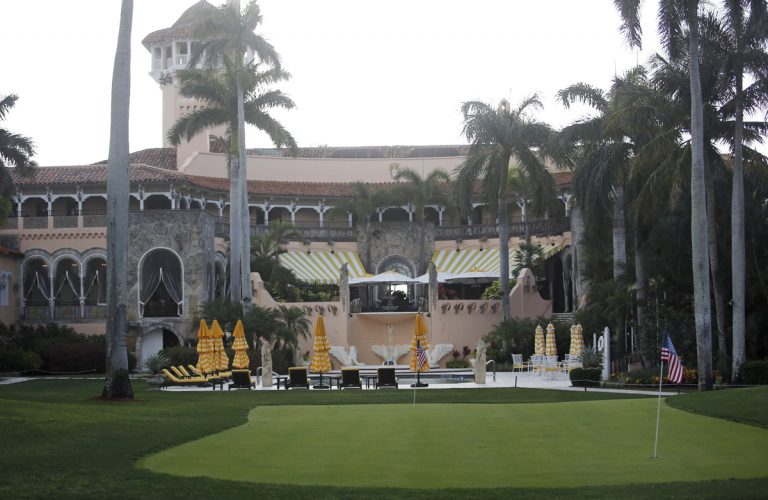 This Saturday, April 15, 2017, file photo shows President Donald Trump's Mar-a-Lago estate in Palm Beach, Fla. The Trump Organization asked the federal government on July 20, 2017, to grant dozens of special visas to foreign nationals to work at two of the President Donald Trump's private clubs in Florida, including his Mar-a-Lago resort. (Alex Brandon/AP Photo, File)