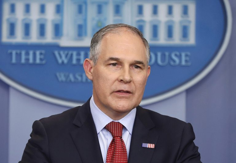 In this June 2, 2017 file photo, Environmental Protection Agency administrator Scott Pruitt speaks in the Brady Press Briefing Room of the White House in Washington. (Pablo Martinez Monsivais/AP Photo, file)