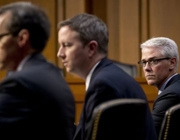 From left, Google's Law Enforcement and Information Security Director Richard Salgado, Twitter's Acting General Counsel Sean Edgett, and Facebook's General Counsel Colin Stretch, appear together during a Senate Committee on the Judiciary, Subcommittee on Crime and Terrorism hearing on Capitol Hill in Washington, Tuesday, Oct. 31, 2017, on more signs from tech companies of Russian election activity. (AP Photo/Andrew Harnik)