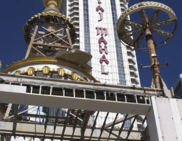 This Nov. 3, 2017 photo shows partially dismantled domes and spires at the former Trump Taj Mahal casino in Atlantic City, N.J. The casino that was built by now-President Donald Trump in 1990 is being converted into a Hard Rock casino resort. (Wayne Parry/AP Photo)