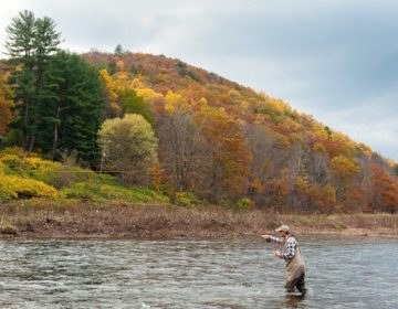 Dan Plummer fishes for trout in the Delaware River, Delaware County New York. The Delaware River Basin Commission has proposed a ban on fracking along the river.