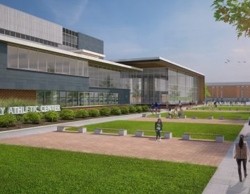 The University of Delaware is planning a $60 million renovation of its football stadium and athletic complex, Above is an artist's rendering of a five-story athletic center that will include training and academic space for the 600 athletes on the school teams. (Courtesy of the University of Delaware)